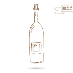 Sketch of Wine Bottle Isolated On The White Background