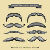 Mustache hand drawn collection
