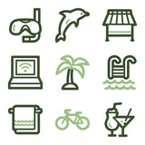 Vacation icons, green line contour series