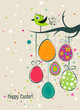 canvas print picture Template Easter greeting card, vector
