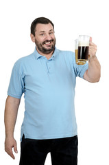 Bearded man in blue shirt invites to beer festival