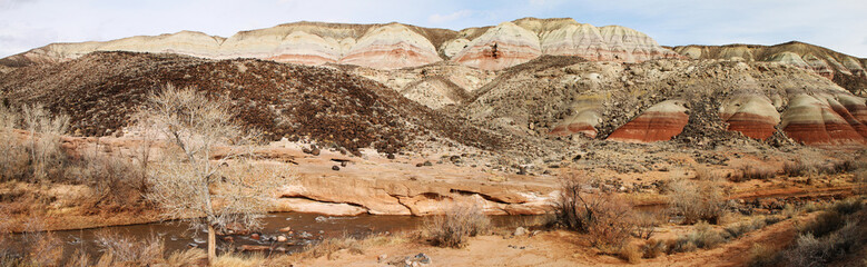 Panorama of the red rock formations in  Capitol Reef National Pa