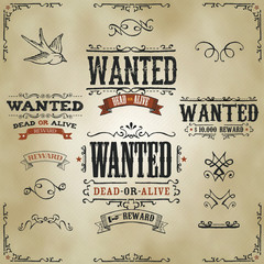 Wanted Vintage Western Banners