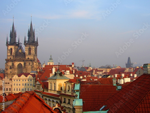 Prague red roofs and Old Town Square