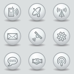 Communication  web icons, circle white matt buttons