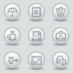 Travel web icons set 4, circle white matt buttons