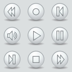 Walkman web icons, circle white matt buttons