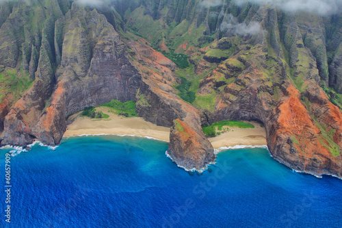Aerial views Kauai island west coast