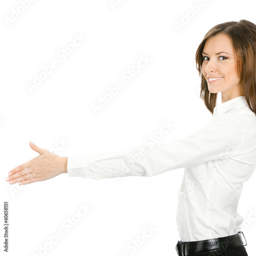 Businesswoman giving hand for handshake, isolated