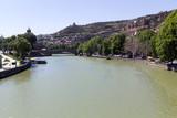 Houses, bridge, river and Narikala fortress, Tbilisi. Georgia