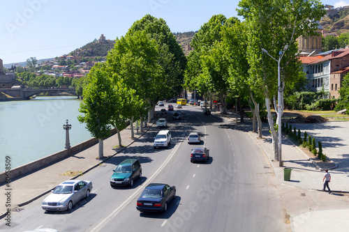 The right embankment of the river Mtkvari of Tbilisi