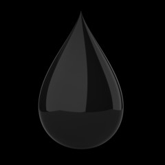 Black oil drop on black isolated with clipping path.