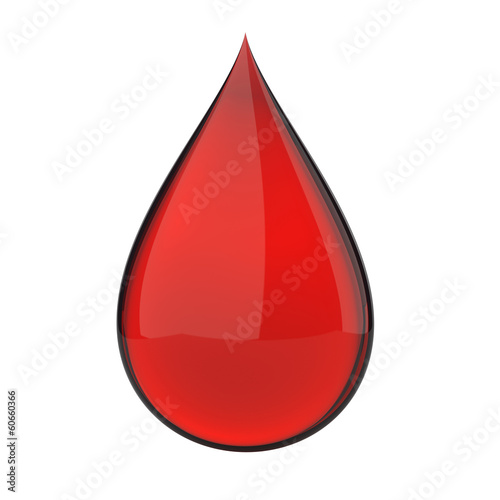 3D red blood drop isolated on white with clipping path