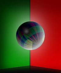 sfera su sfondo rosso e verde