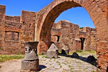 Ancient Roman ruins, the bakery at Ostia Antica, Italy