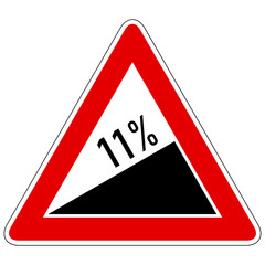 Steigung 11% - Gefahrzeichen