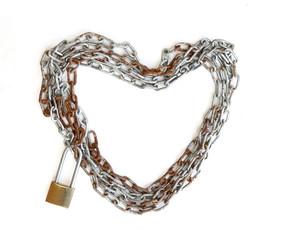 Chain heart shape with master key lock