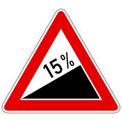 Steigung 15% - Gefahrzeichen