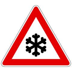 Schnee- oder Eisglätte - Gefahrzeichen