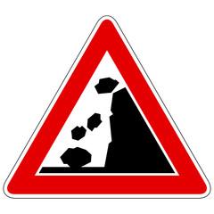 Steinschlag von rechts - Gefahrzeichen