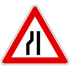 Einseitig links verengte Fahrbahn - Gefahrzeichen