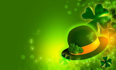 St. Patrick's postcard on green background