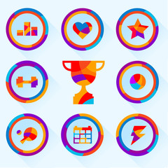 set of icons about sports bright colors