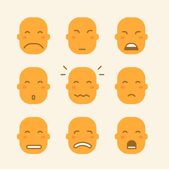 set of icons with yellow faces and different emotions