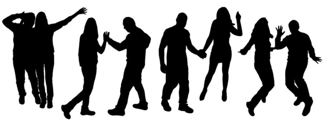 Vector silhouettes of dancing people.