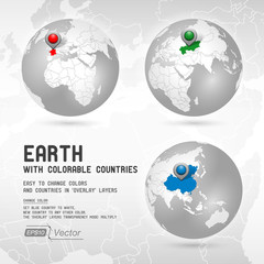 Globe with colorable countries - silver - Part one
