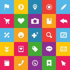 set of color icons for web of communication and technology