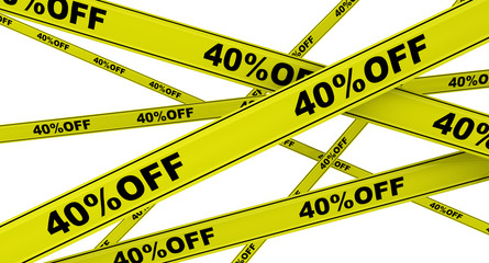 Yellow ribbons with the inscription 40%OFF