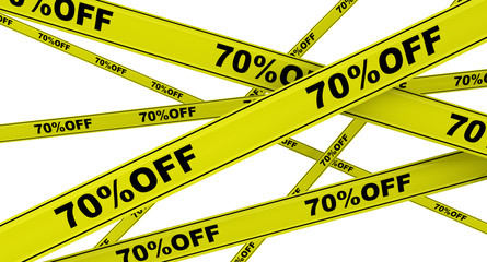 Yellow ribbons with the inscription 70%OFF