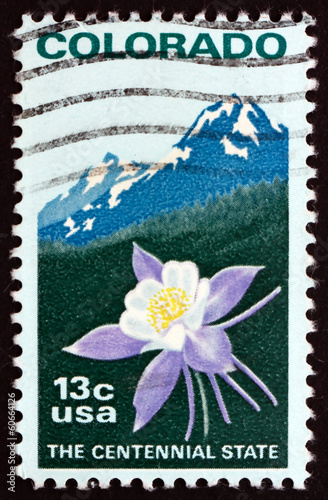 Postage stamp USA 1977 Columbine and Rocky Mountains