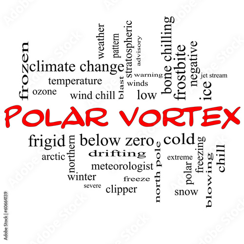 Polar Vortex Word Cloud Concept in red caps