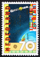 Postage stamp Netherlands 1983 Satellite and Globe