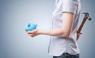 Piggy Bank and Hammer - Using Savings