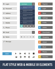 Flat style web & mobile UI elements