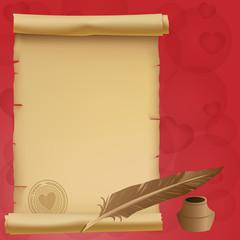 Valentine-Vintage Love Scroll Over Red