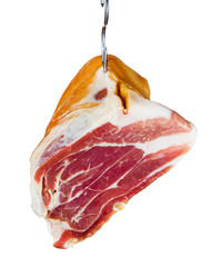 Jamon. Meat is hanging on hook. Isolated