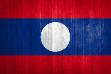 Laos Flag on wood background