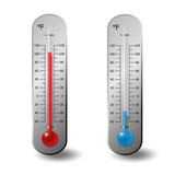 thermometers Fahrenheit red blue degree set