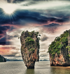 Beautiful rock emerging from James Bond Island Bay, Thailand