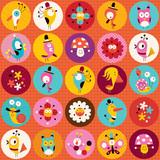 Fototapeta cute characters nature pattern