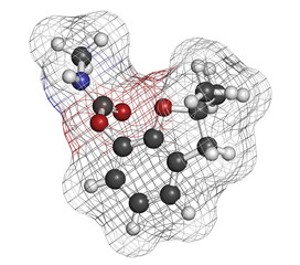 Carbofuran carbamate pesticide molecule.