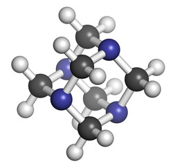Hexamethylenetetramine (methenamine) molecule.