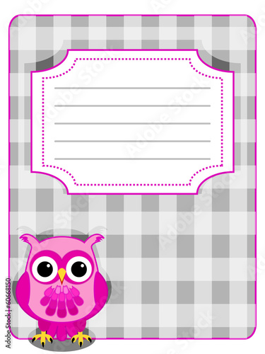 Owl gingham cover-pink and grey