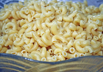 Glass Bowl Filled With Cooked Elbow Macaroni