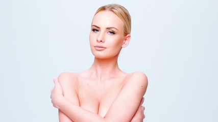 Pretty Semi Naked Woman Cover Her Breast With Hands