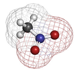 Nitromethane nitro fuel molecule. Used as fuel to power rockets.